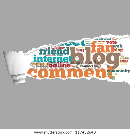 Torn Paper with blog info-text graphics and arrangement concept on white background (word cloud) - stock photo