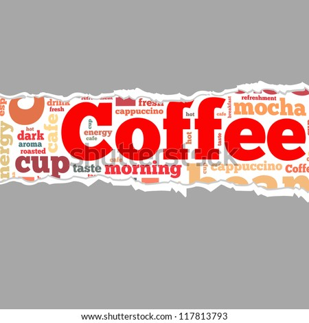 Torn Paper with coffee info-text graphics and arrangement concept on white background (word cloud) - stock photo