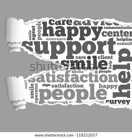 Torn Paper with customer service info-text graphics and arrangement concept on white background (word cloud) - stock photo