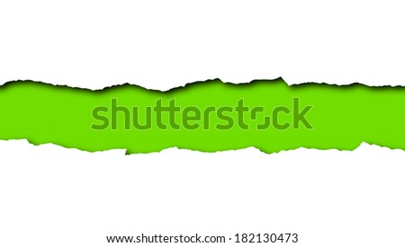 Torn paper with green space for text isolated on a white background  - stock photo