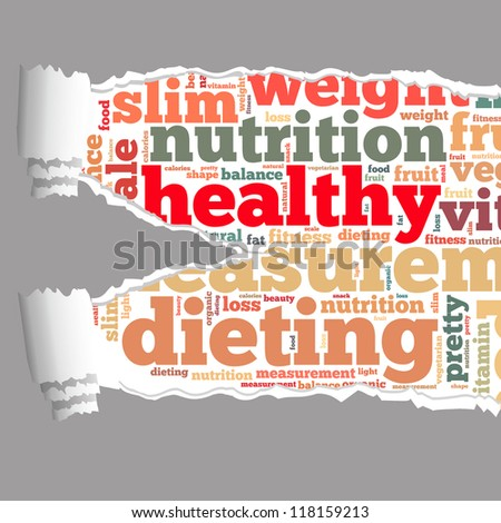 Torn Paper with healthy info-text graphics and arrangement concept on white background (word cloud) - stock photo