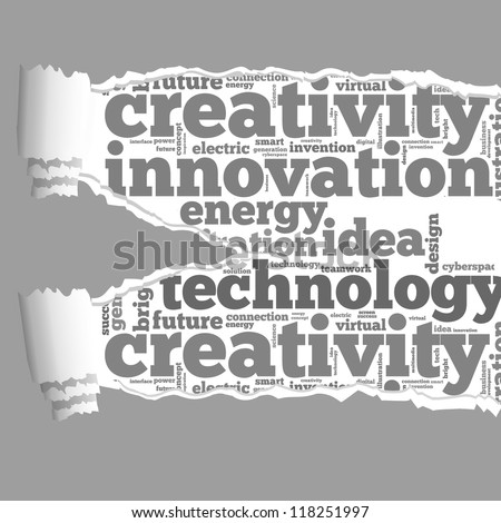 Torn Paper with innovation info-text graphics and arrangement concept on white background (word cloud) - stock photo