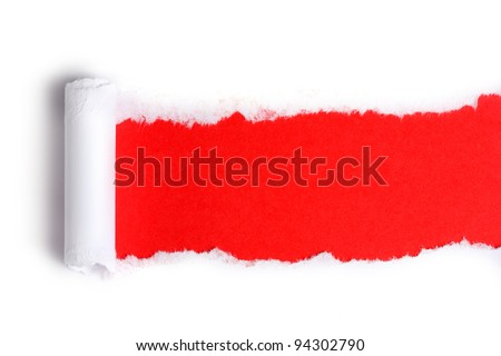 Torn paper  with red background - stock photo