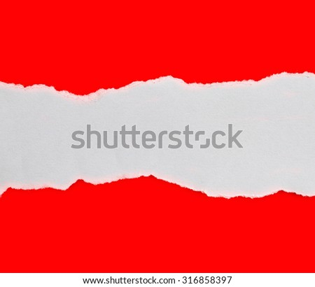 Torn Paper with space for text with red background - stock photo