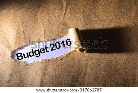 torn paper with word budget 2016 - stock photo