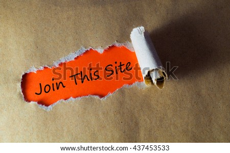 Torn paper with word join this site - stock photo