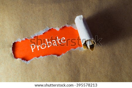torn paper with word probate - stock photo