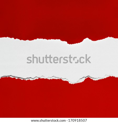 Torn red  paper with space for copy. - stock photo
