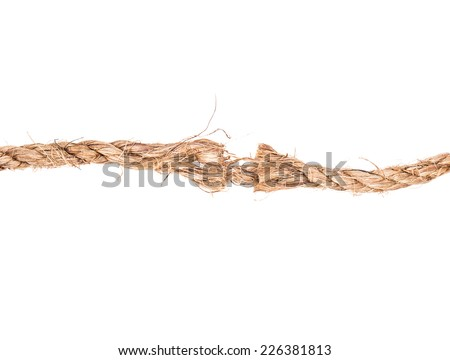 torn rope solated on white background - stock photo