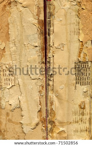 torn spine of antique book - stock photo