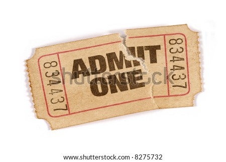 Torn ticket : old vintage admit one movie ticket stub isolated on white background. - stock photo