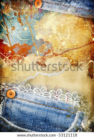torn vintage grunge background with denim borders - stock photo