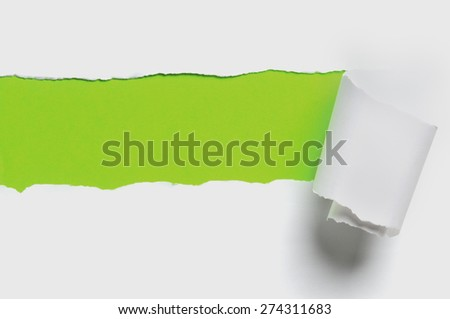 Torn white paper with green color as background - stock photo