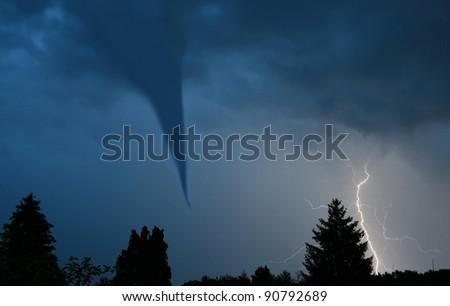 tornado and lightening - stock photo