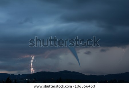 tornado and lightening bolt - stock photo