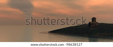 Tornado coming to an island with a little house by sunset - stock photo