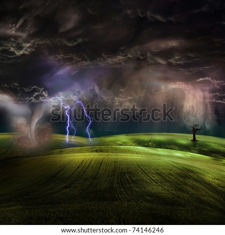 Tornado in stormy landscape - stock photo