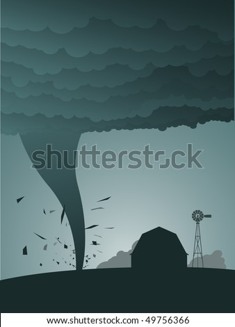 Tornado in the country - raster - stock photo