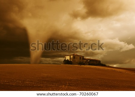 tornado in the early morning - stock photo