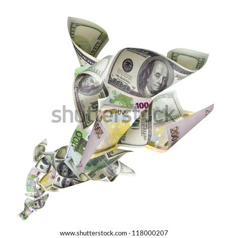Tornado of dollars and euro banknotes - stock photo