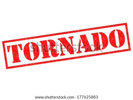 TORNADO red Rubber Stamp over a white background. - stock photo
