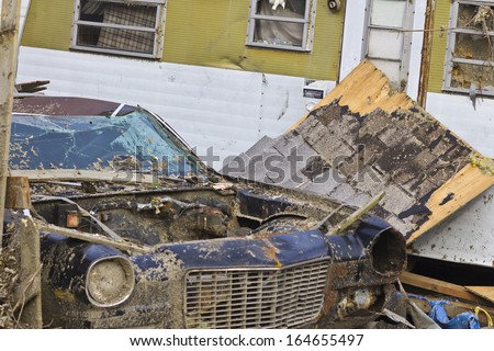 Tornado Storm Damage I - Catastrophic Wind Damage from a Midwest Tornado - stock photo