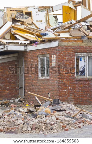 Tornado Storm Damage VI - Catastrophic Wind Damage from a Midwest Tornado - stock photo