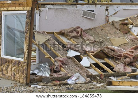 Tornado Storm Damage VII - Catastrophic Wind Damage from a Midwest Tornado - stock photo