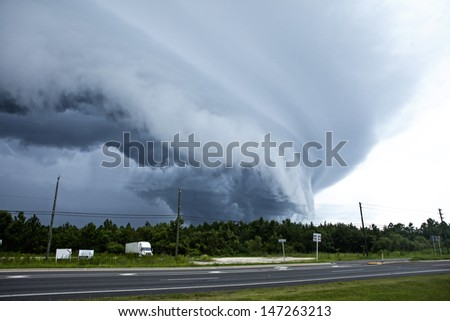 tornado touching down in florida, usa - stock photo