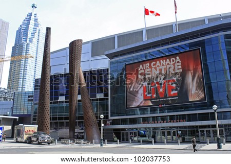 TORONTO - APRIL 20: Air Canada Centre has been recognized with more than 25 industry awards and as of February 2009, it had played host to over 26.8 million fans, on April 20 2012 in Toronto, Canada - stock photo