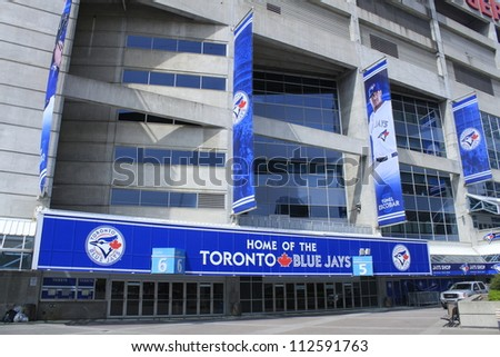 TORONTO - APRIL 20: Rogers Centre opened in 1989 and is home to the Toronto Blue Jays Baseball Team and Argonauts Canadian Football Team, on April 20 2012 in Toronto, Canada. - stock photo