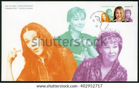 TORONTO, CANADA - AUGUST 29, 2014: A stamp printed in Canada shows Catherine Anne O'Hara (born 1954), actress, series Great Canadian Comedians - stock photo