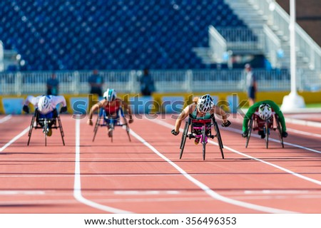 TORONTO,CANADA-AUGUST 8,2015: Athletics in Toronto 2015 Parapan Am Games: Jessica Lewis from Bermuda sets new Parapan Am Record and wins the first ever medal for Bermuda - stock photo