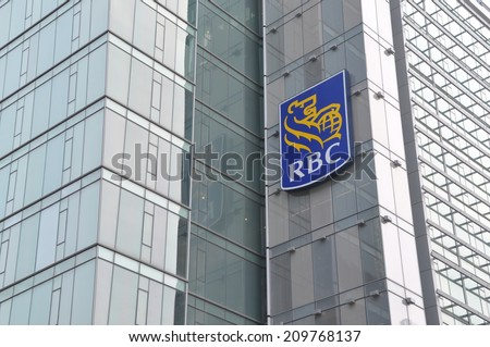 Toronto, Canada - August 3, 2014: The Royal Bank of Canada is one of North America's leading diversified financial companies providing banking, wealth management, insurance and capital market services - stock photo
