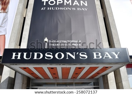 Toronto, Canada - February 24, 2015: Sign of Hudson's Bay Store at Yorkdale Shopping Centre. - stock photo