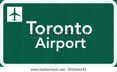 Toronto Canada International Airport Highway Sign 2D Illustration - stock photo