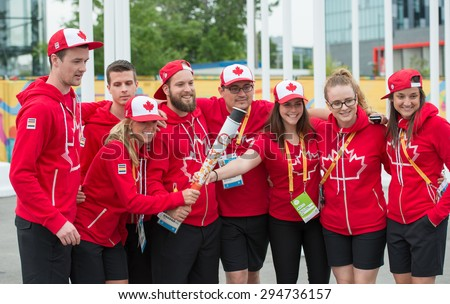 TORONTO,CANADA-JULY 8,2015: Canadian delegation arrived to the PanAm 2015 Athlete's Village in Toronto where the multi sport games will be celebrated staring July 10,2015.Credentials available - stock photo