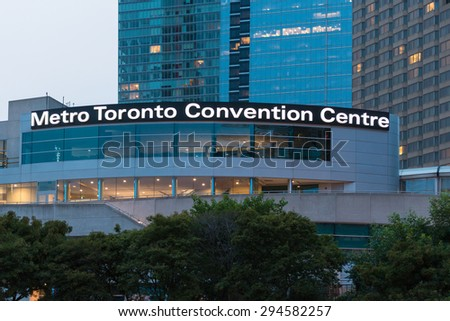 TORONTO,CANADA-JULY 5,2015: Metro Toronto Convention Centre is a convention complex.The property is today owned by Oxford Properties operated by the Metropolitan Toronto Convention Centre Corporation - stock photo