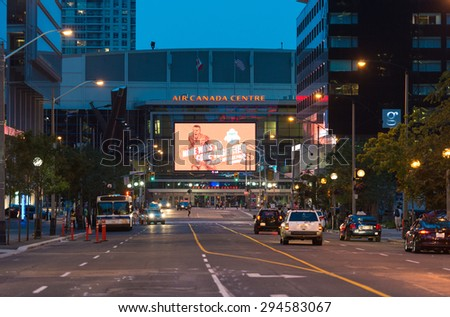 TORONTO,CANADA-JULY 5,2015: The Air Canada Centre (ACC) is a multi-purpose indoor sporting arena in Downtown Toronto. It is the home of the Toronto Maple Leafs of the National Hockey League  - stock photo