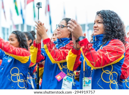 TORONTO,CANADA-JULY 8,2015:Toronto PanAm Games: Welcoming ceremony to the Venezuela delegation into the Athletes' Village - stock photo