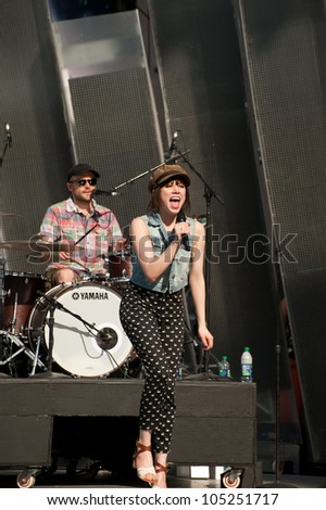 TORONTO, CANADA - JUNE 15: Carly Rae Jepson rehearses for her upcoming performance at the Much Music Video Awards on June 15, 2012 in Toronto, Canada. - stock photo
