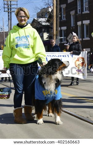 TORONTO,CANADA-MARCH 27,2016:Beach Cheer Athletics representant with large dog marching in the Lions Club Easter parade which celebrates its 50th anniversary - stock photo