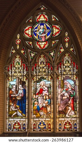 TORONTO,CANADA-MARCH 15,2015:Beautiful stained glass windows at the Church of the Redeemer which is one of the oldest churches in town and part of the city heritage - stock photo