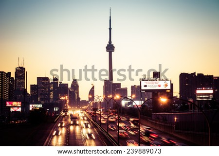 TORONTO,CANADA-MARCH 23,2013: Downtown Toronto during the rush hour morning traffic. Toronto is the Capital of Ontario and the most important financial centre in Canada - stock photo