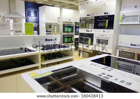TORONTO, CANADA - MARCH 1, 2014: Kitchen appliances on display at an Ikea store in Toronto, Canada. Founded in Sweden in 1943, Ikea is the world's largest furniture retailer. - stock photo