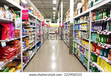 TORONTO, CANADA - MAY 06, 2014: FreshCo supermarket on May 6, 2014 in Toronto, Ontario, Canada. FreshCo is a Canadian discount supermarket chain owned by Sobeys Inc which was launched in May 2010. - stock photo