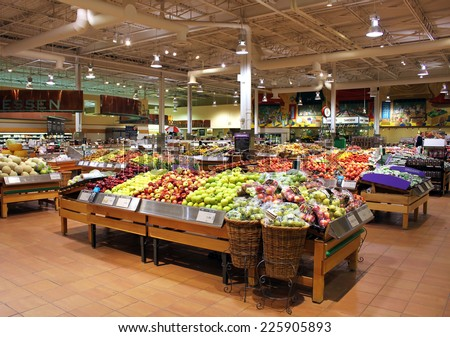 TORONTO, CANADA - MAY 06, 2014: Loblaws supermarket in Toronto, Ontario, Canada. Loblaws is Canada's largest food distributor and supermarket chain with over 70 stores in Canada. - stock photo