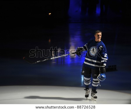 TORONTO, CANADA – NOV 13: Borje Salming, who paved the way for future Europeans in the NHL, is introduced at the Hockey Hall of Fame Legends Classic game on Nov 13, 2011 in Toronto, Canada. - stock photo