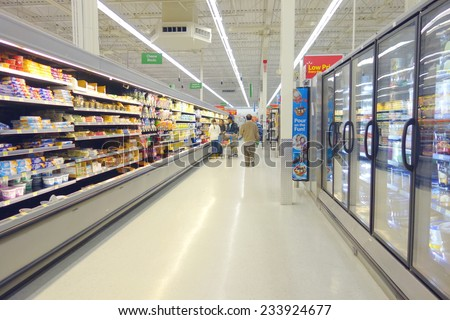 TORONTO, CANADA - NOVEMBER 22, 2014: A supermarket aisle in Toronto, Canada. - stock photo