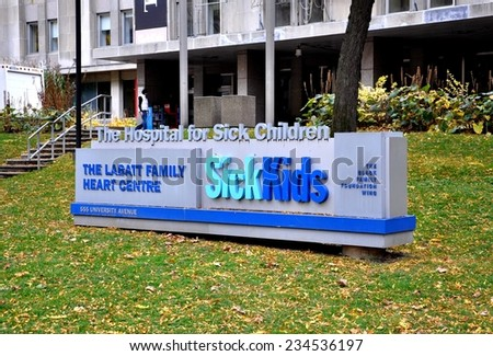 Toronto, Canada - November 7, 2014: Sign in front of Sick Kids Hospital in Toronto. - stock photo